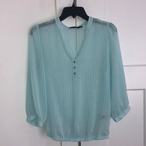 The Limited sheer turquoise vneck blouse